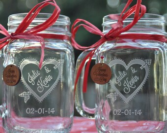 Heart and Arrow Mason Jar Set with choice of Mr and Mrs or Valentine Charms