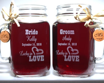 Western Wedding Mason Jars Lucky in Love Personalized for Bride and Groom