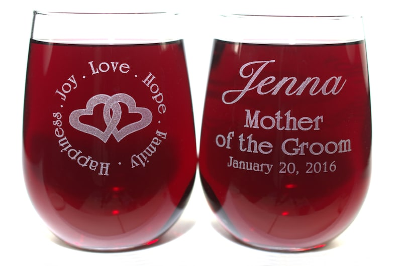 Parent of Bride or Groom Wine Glass Double Side Engraved 16 or 21 Ounce Stemless