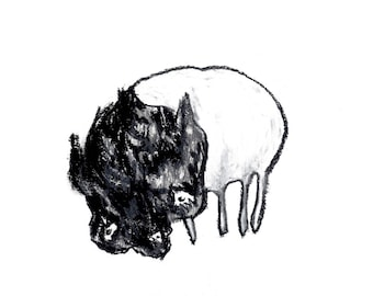 Black and white charcoal bear illustration - Lost little bear - sad cuddly animal drawing - 9x12 original artwork