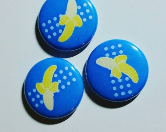 Banana 1 inch pinback button set of 3