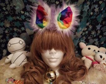 Cotton candy purple rainbow clip on kitten play  Fox wolf Cosplay furry ears
