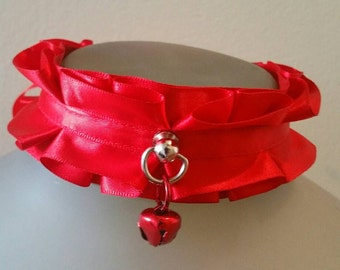 Red and Red Kitten Play Cat Bell Collar Choker