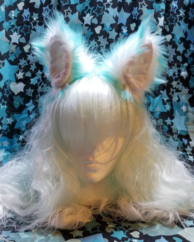 Cotton candy pastel blue clip on Ears / kitten play / furry / image 0