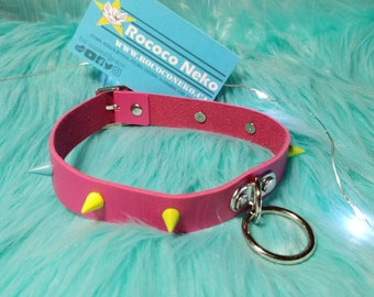 Pink Green Blue Spike O ring Leather  collar choker M bdsm cat girl kitten play fairy kei Japanese