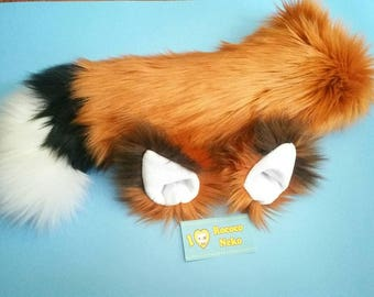 Fox Ears and Tail set / Faux Fur / Pet / Kitten /Play / Costume / Fur Suit Partial / Pup / BDSM / DDLG / Furry / Custom / Dog / Animal /