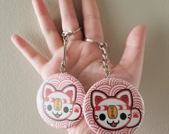 Nameki / Neko / Cat / welcoming / Good / Luck / Fortune  / Sakura / Matsuri / Spring / Festival / Red / Anime / Cute / Kawaii / keychain Pin