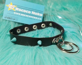 Choker goth alt accessories  Black and Blue Spike O ring Leather collar choker H Bdsm cat girl kitten play