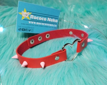 Red and Pink Heart leather collar choker P Choker goth alt accessories bdsm cat girl kitten play