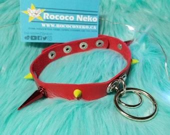 Choker goth alt Big Red Spike Vampire Bite O leather ring collar choker L bdsm cat girl kitten play