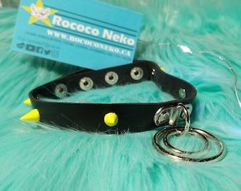 Choker goth alt Black and Acid Yellow Spike O Ring leather  collar choker G bdsm cat girl kitten play