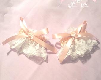 Sweet Pink And White Lolita Lace Wrist Cuffs Set