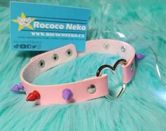 Pink Purple Red Spike Heart leather collar choker O Bdsm cat girl kitten play fairy kei Japanese