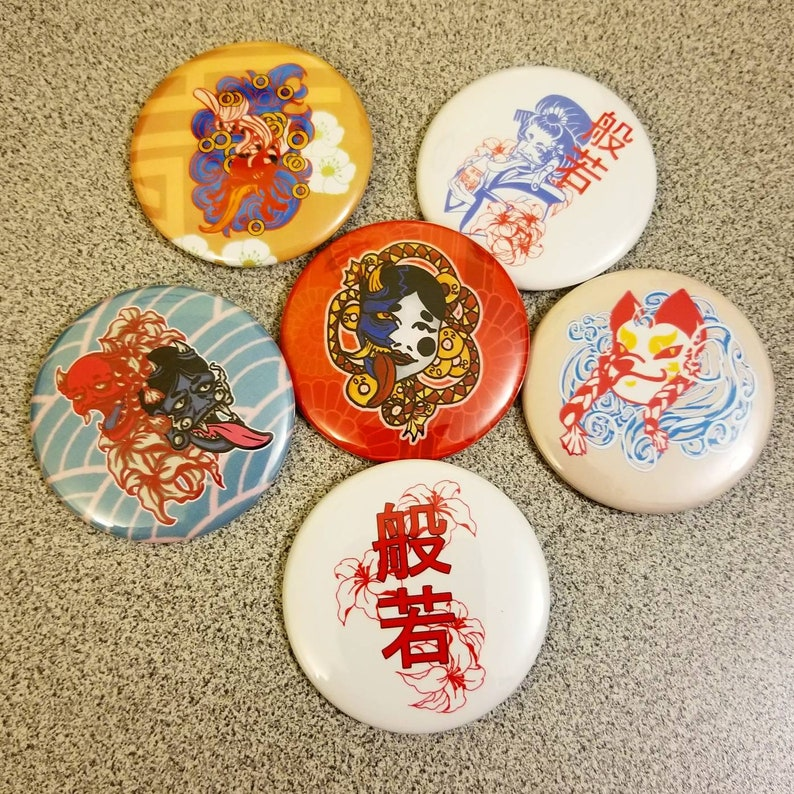 Yokai / Oni / Japanese / Anime Demon Pin Set image 0