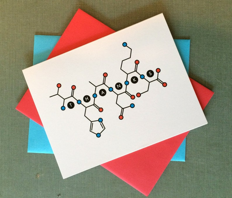 Science thank you cards \u2013 Biology THANKS card 6-pack \u2013 Amino acid molecular structure spells out your gratitude