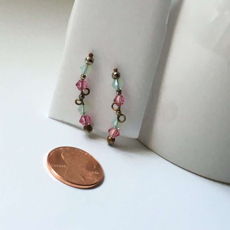 Pink Rose Crystal Mint Green Swarvoski Crystal on Antique Wire Ear climbers Ear Vines One of a Kind