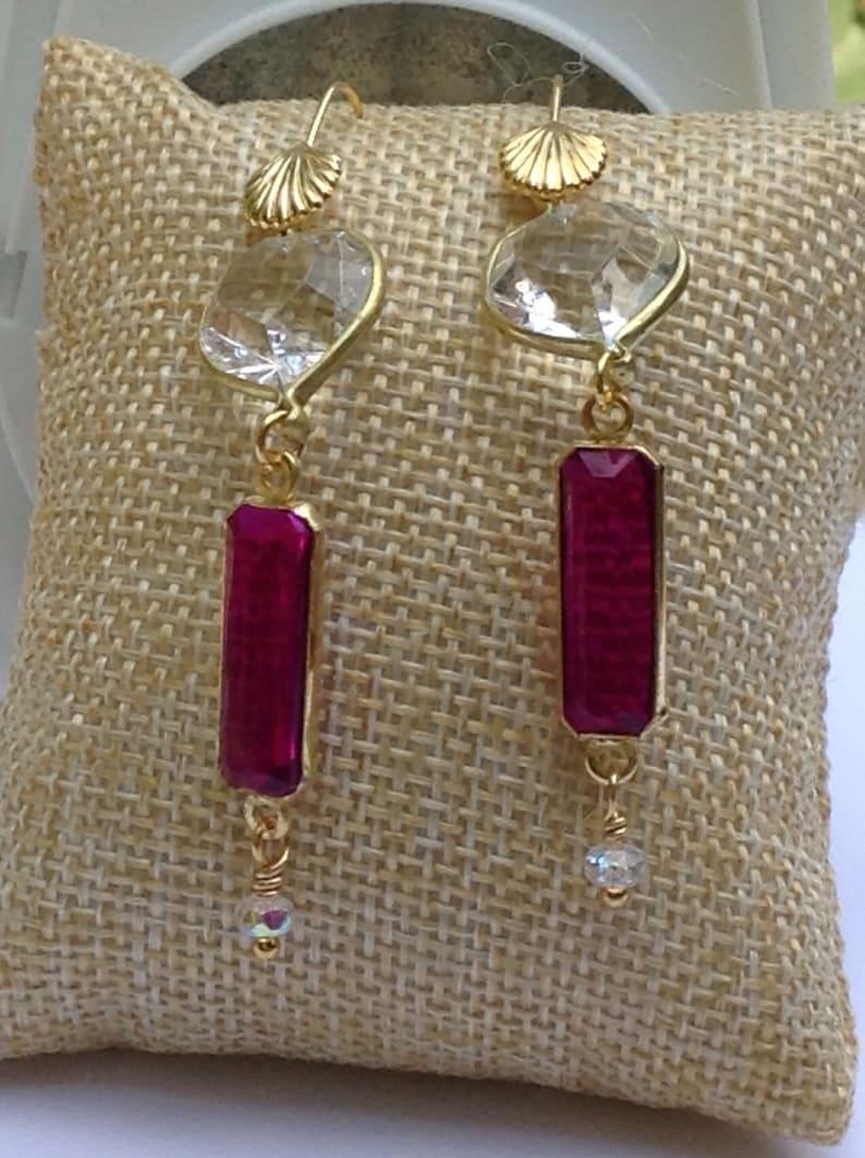 Fushia and clear heart matching Bracelet and Earring set