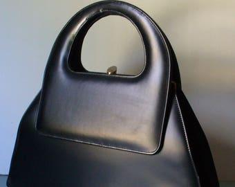 Vintage Large Black Architectural Handbag