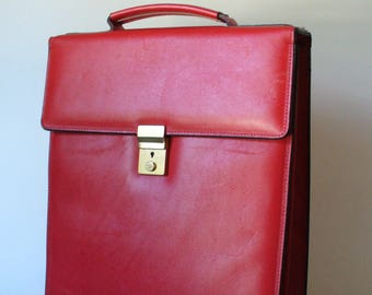 Cherry Red Tall Breifcase Style Bag