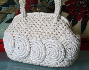 Vintage Raffia Handbag With Swirl Detail