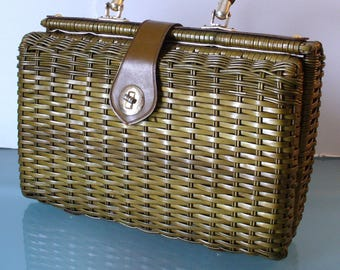 Vintage Olive Green Wicker & Leather Purse