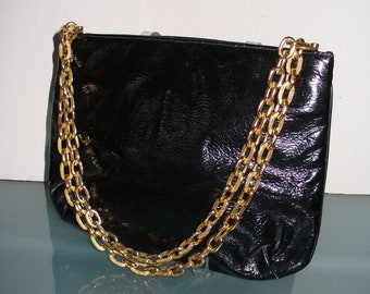 f2d0097b6265 Vintage Patent Leather Triangle New York Gatemouth Bag