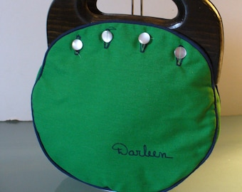 Preppy Bermuda Bag Purse With Wooden Handles & 3 Covers