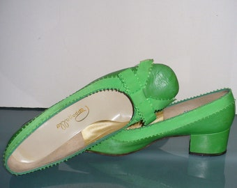 f7caac22aa Vintage Pappagallo Leather Preppy Green Shoes Size 9