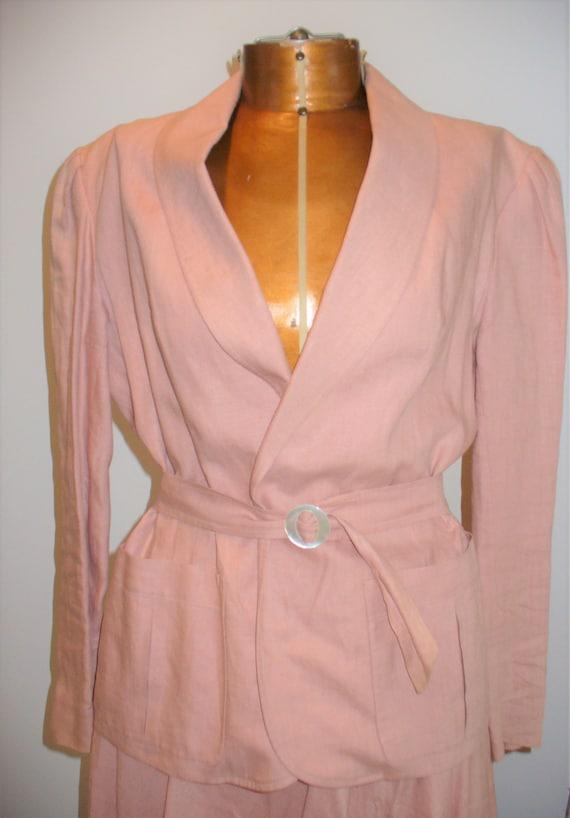 Ralph Lauren Rose Linen Ladies Jacket Suit - image 10