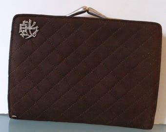 Vintage Quilted Brown Suede Clutch Wallet