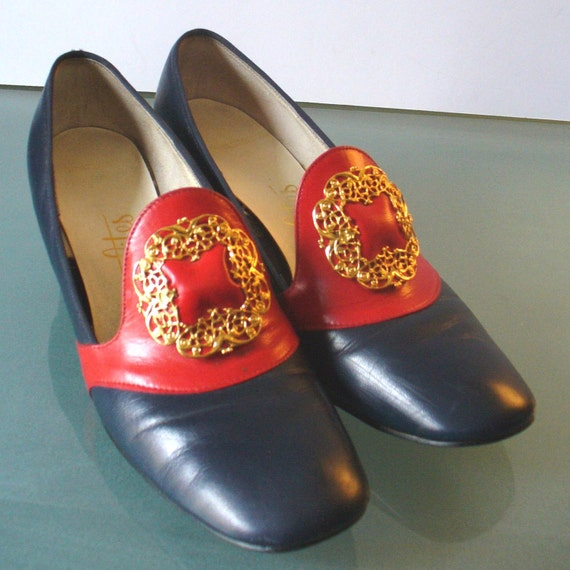 Vintage Socialites Navy Blue & Red Shoes With Fila