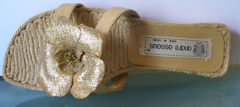 Andre Assous Made in Spain Espadrille Slides Size 7.5