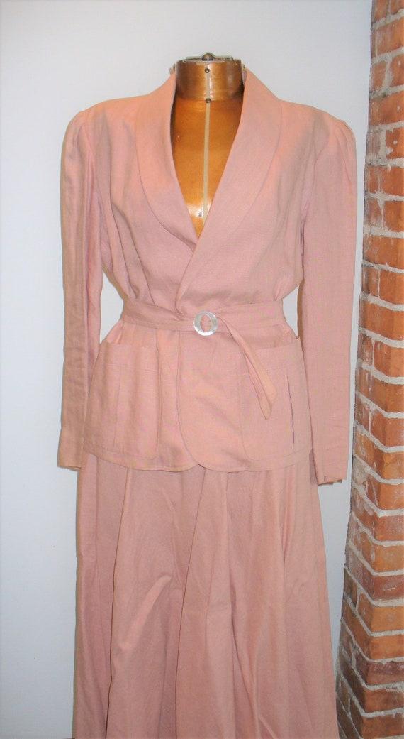 Ralph Lauren Rose Linen Ladies Jacket Suit - image 2