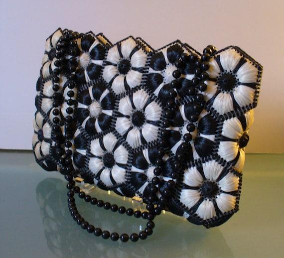Vintage  Large Straw Black & White Shoulder Bag