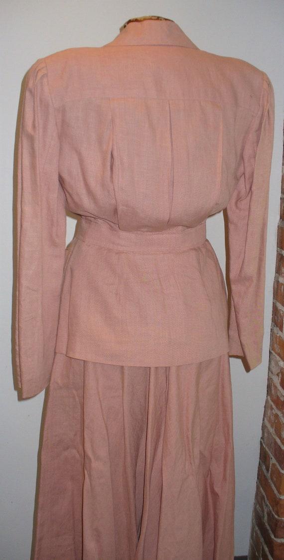 Ralph Lauren Rose Linen Ladies Jacket Suit - image 7