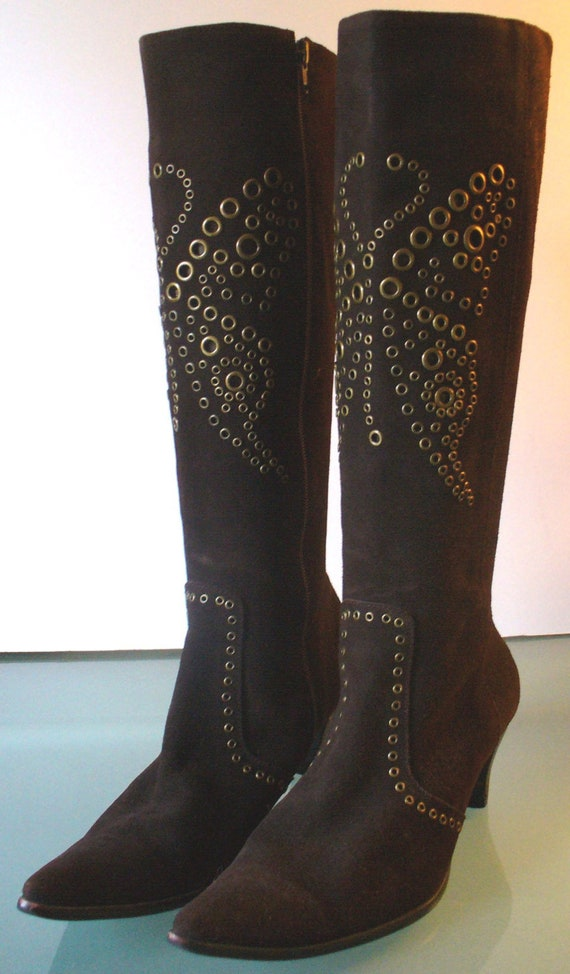 Vintage Chocolate Brown Suede Giamma Studded Boots