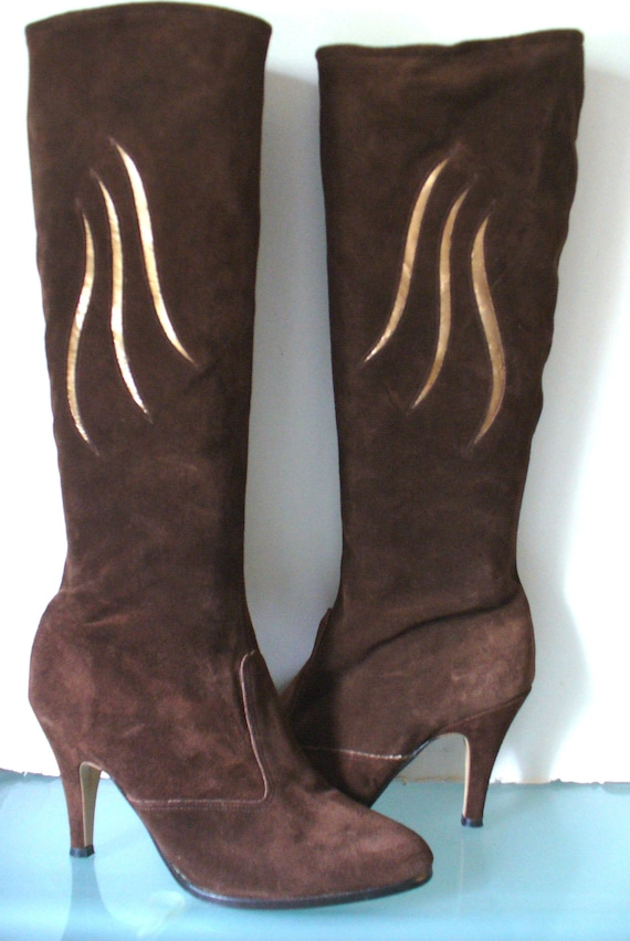 Vintage Chocolate Brown Suede Life Stride Boots Si