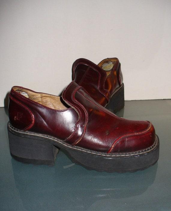 John Fluevog Oxblood Stomps Shoes Size 9