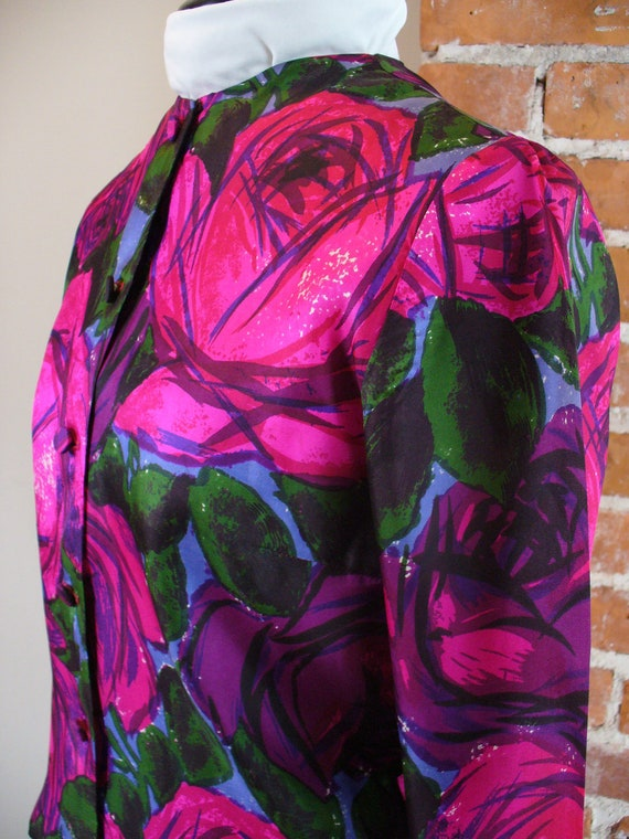 Vintage Aladdin Abstract Rose Print Blouse