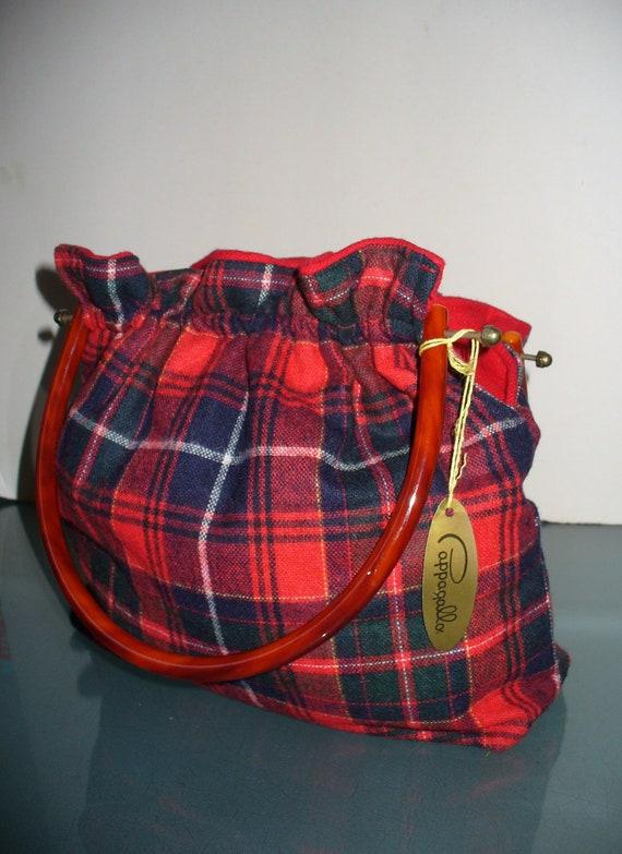 Vintage Wool Plaid Pappagallo Preppy Handbag
