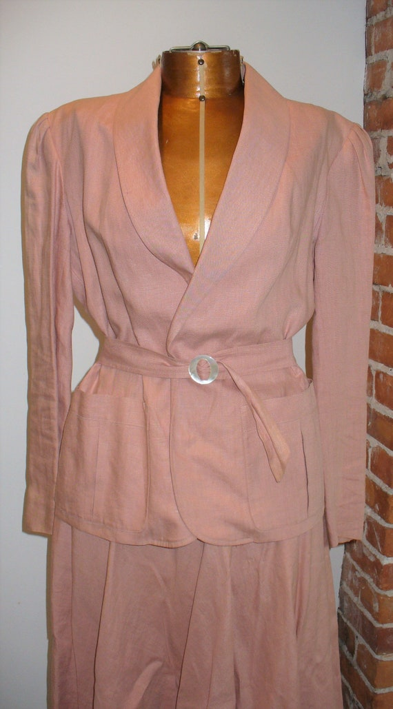 Ralph Lauren Rose Linen Ladies Jacket Suit - image 5