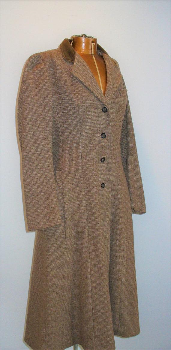 Vintage Princess Style Check Tweed Wool Coat Size