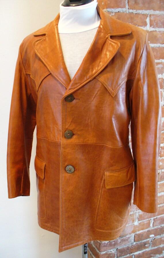 Vintage Biba Whiskey Tan Leather Jacket 1960's