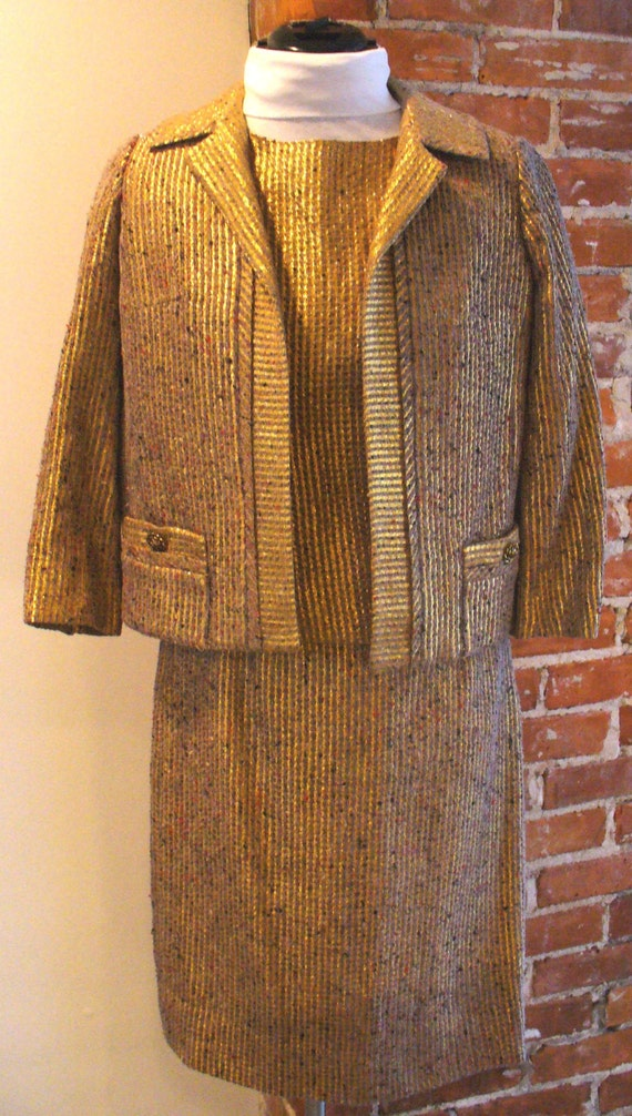 Vintage Gold Tweed French Style Ladies Suit 3 Piec