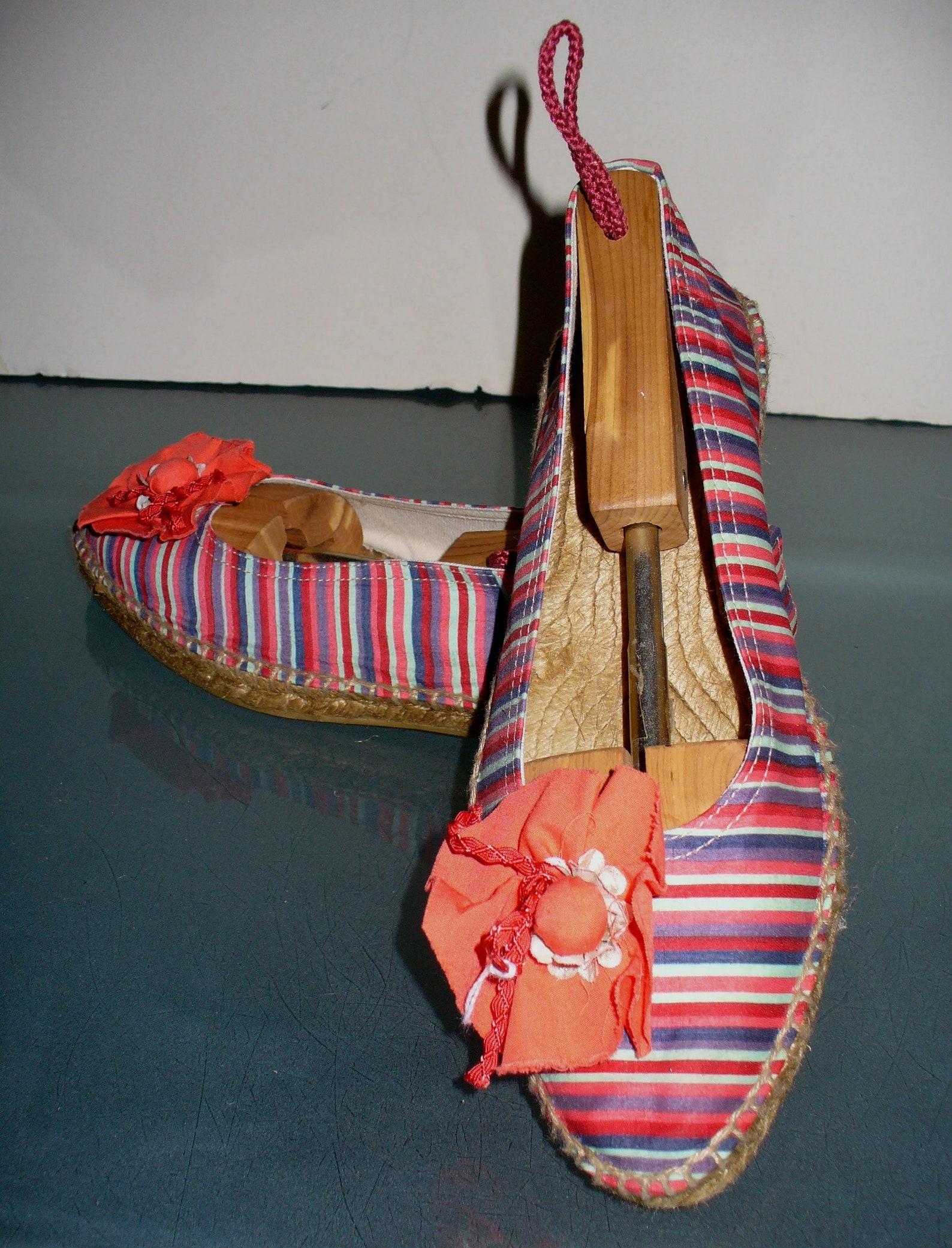 striped ballet flat espadrilles made in spain size 39 eu