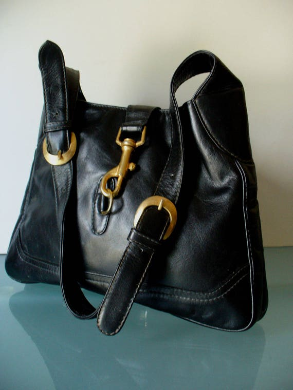 Vintage Pappagallo Black Leather Hobo Bag