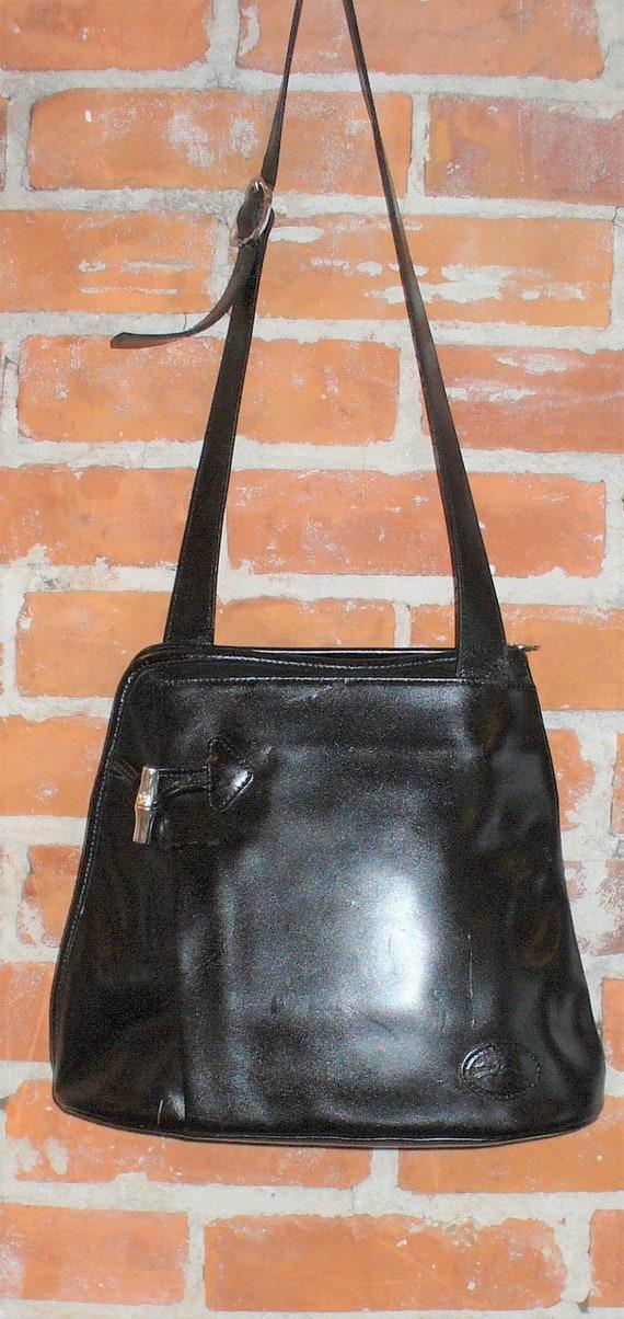 Vintage Longchamp Black Leather Bucket Bag Purse