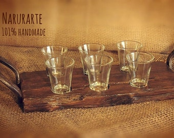 Wood tray with liquor glasses set