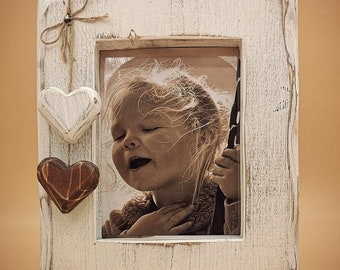 Wooden Picture Frame with Hearts