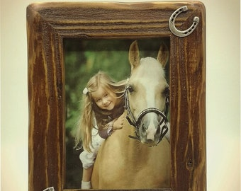 Wooden Picture Frame with decorative metal horseshoes